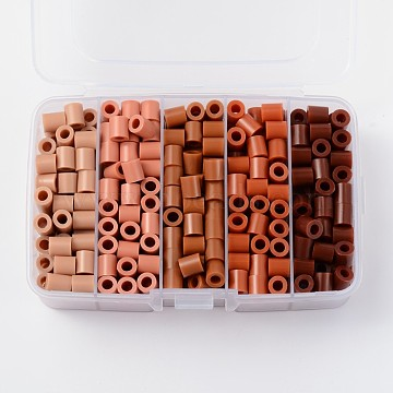 Melty Beads PE DIY Fuse Beads Refills for Kids, Tube, Gradual Saddle Brown Color, 8.5~9x9~9.5mm; about 68pcs/compartment, 340pcs/box(DIY-X0244-06-B)