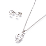 Stainless Steel Stud Earrings & Necklaces(X-SJEW-L141-052G)