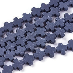 """Chapelets de perles en corail synthétique, teint, croix, slategray, 7.5~8.5x8~9x3~3.5mm, trou: 1mm; environ 40 pcs/chapelet, 12.5""""~12.7"""" (31.8~32.3 cm)(CORA-L044-A09)"""