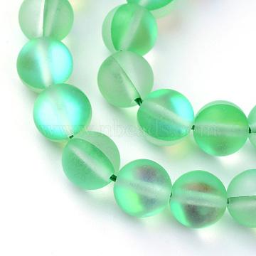 Brins synthétiques de perles de lune, teints, givré, arrondir, mediumspringgreen, 6 mm, trou: 1 mm; environ 62 perle / brin, 15.5(X-G-R375-6mm-A06)