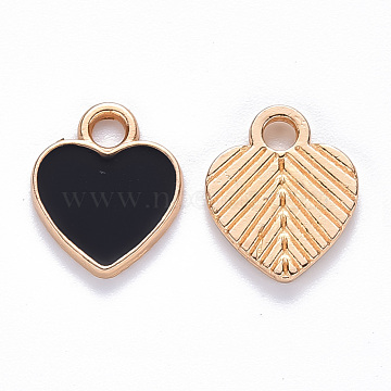Alloy Enamel Charms, Heart, Light Gold, Black, 12x10x2mm, Hole: 2mm(X-ENAM-S121-041A)