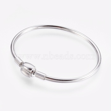 304 Stainless Steel European Style Bangle Making, with Clasps, Stainless Steel Color, 1-7/8 inches(4.7cm)x2-1/4 inches(5.6cm), 3mm(BJEW-I267-003B)