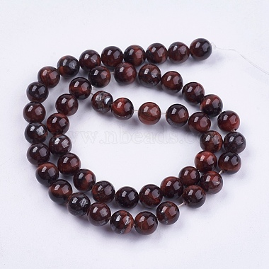 Natural Red Tiger Eye Stone Bead Strands(X-G-R193-08-8mm)-2