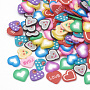 Handmade Polymer Clay Cabochons, Nail Art Decorations, Heart, Mixed Color, 4~5.5x4~5.5x0.3~1mm