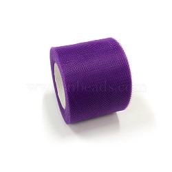 Tissu de filet, Tissu à carreaux en tulle pour la fabrication de jupe, blueviolet, 2'' (5 cm); environ 25 mètres / rouleau (22.86 m / rouleau)(OCOR-P010-C-C27)