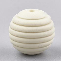 Экологические силиконовые бусины, жевательные бусины для чайников, DIY уход за ожерельем, круглые, бежевые, 15x14 мм, отверстие : 2 мм(SIL-T050-05L)