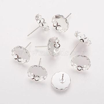 Brass Bezel Stud Earring Settings, Nickel Free, Silver Color Plated, Tray: 12mm; 13mm; Pin: 0.6mm(X-KK-I003-S-NF)