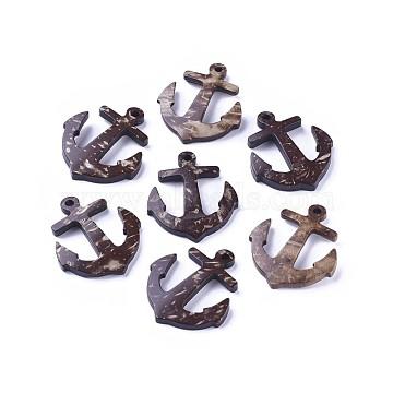 Coconut Pendants, Anchor, Coffee, 35x31x5mm, Hole: 3mm(COCO-I002-005)
