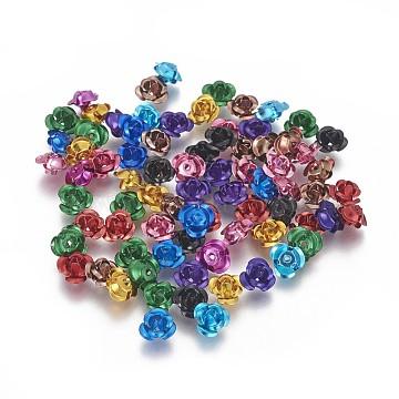 Aluminum Beads, 3-Petal Flower, Mixed Color, 7x4mm, Hole: 0.8mm, about 950pcs/bag(FALUM-T001-01A-M)