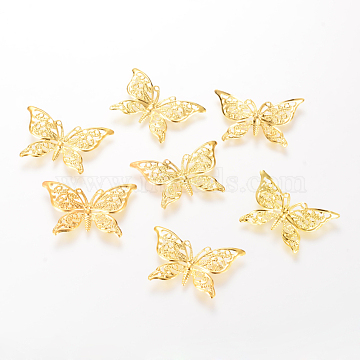 Iron Pendants, Etched Metal Embellishments, Butterfly, Light Gold, 26x39x1mm, Hole: 1mm(X-IFIN-T002-02KC)