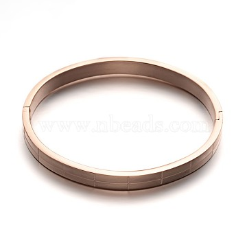 304 Stainless Steel Bangles, Rose Gold, 59x50mm(BJEW-M123-22RG)