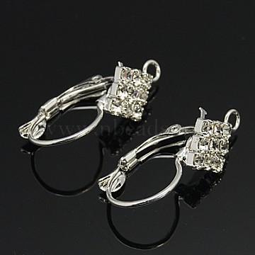 Brass Rhinestone Hoop Earrings, Leverback Hoop, with Grade A Rhinestone, Platinum, 26x10mm, Hole: 1.5mm, Pin: 0.8mm(RB-H297-P)
