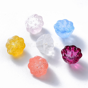Transparent Glass Beads, Mixed Style, Lotus Pod, Mixed Color, 11x10.5x8mm, Hole: 1mm(X-GLAA-T016-35)