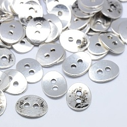 boutons en alliage de style tibétain, 2-trou, sans plomb et sans nickel, ovale, argent antique, 14x11x1 mm, trou: 2 mm(X-TIBE-ZN48623-AS-FF)