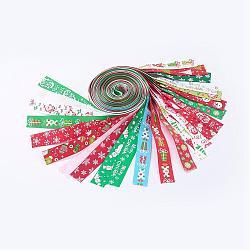 "Ruban imprimé en gros gros grain pour Noël, couleur mixte, 1"" (25mm); environ 1 m / brin, 24strand / set(SRIB-X0002-01)"