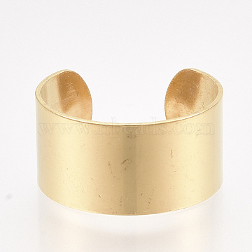304 Stainless Steel Cuff Rings, Open Rings, Wide Band Rings, Golden, Size 8, 18mm, 10mm(X-STAS-T045-22B-G)