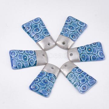 Handmade Porcelain Pendants, Trapezoid, Blue, 46~47.5x27~28x7~8mm, Hole: 3~4mm(X-PORC-T002-54)