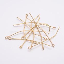 Clou tête boule en fer doré, taille: environ 0.7 mm d'épaisseur, 5 cm de long, Trou: 2mm, environ 220 pcs/50 g(X-EPG5.0cm)