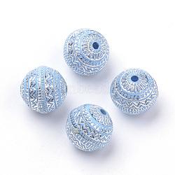 Perles acryliques plaquées, métal argenté enlaça, rond, cornflowerblue, 11.5x11mm, Trou: 1.5mm