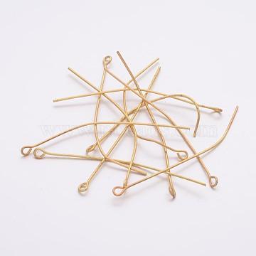 épingle à œil en fer doré, taille: environ 0.7 mm d'épaisseur, 5 cm de long, trou: 2 mm, environ220 pcs / 50 g(X-EPG5.0cm)