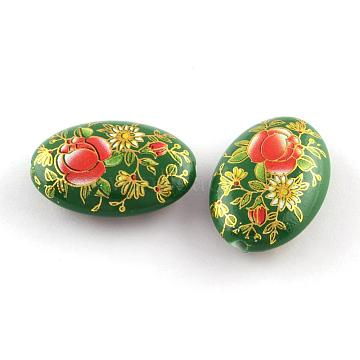 Oval Opaque Printed Acrylic Beads, Flower Pattern, Green, 29x20x10mm, Hole: 2mm(MACR-R550A-02H)