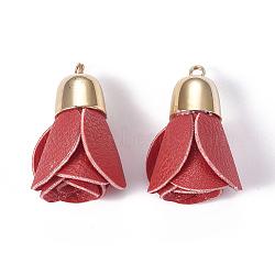 Pendentifs en cuir, avec les accessoires en laiton, fleur, or, rouge, 44~46x23~30mm, Trou: 3mm(KK-F794-01A)