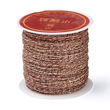 8-Ply Metallic Cord for Jewelry Making, Saddle Brown, 0.8mm, about 27.34 yards(25m)/roll(MCOR-CJC0001-01C)