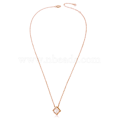 TINYSAND 925 Sterling Silver Cube Pearl Pendant Necklaces(TS-N266-RG)-4
