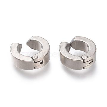 303 Stainless Steel Cuff Earrings, Hypoallergenic Earrings, Ring, Stainless Steel Color, 11.5x4mm(EJEW-F262-01B-P)