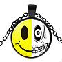 стеклянные ожерелья на Хэллоуин, сплава с выводами, плоский круглый с выражением, пушечная бронза, 17.7 (45 см); подвеска: 27 мм