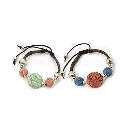 Bracelets en perles de lava, cordon de coton ciré avec accessoires en alliage, couleur mixte, 46 mm; perles de lave: 12~21x7~11 mm; accessoires en alliage: 4~12x1~7 mm(BJEW-D251-M)
