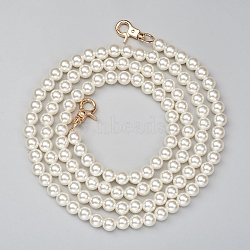 ABS Plastic Imitation Pearl Bag Strap Chains, with Alloy Clasps, for Bag Straps Replacement Accessories, Antique White, 125cm; Beads: 10mm(X-FIND-WH0052-67C)