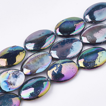 AB Color Freshwater Shell Beads Strands, Dyed, Oval, Colorful, 17~18x12.5x4~5mm, Hole: 1mm; about 22pcs/strand, 15.7 inches(X-SHEL-S274-39A)