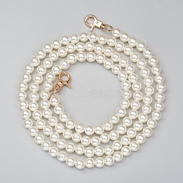 ABS Plastic Imitation Pearl Bag Strap Chains, with Alloy Clasps, for Bag Straps Replacement Accessories, Antique White, 125cm, Beads: 10mm(X-FIND-WH0052-67C)