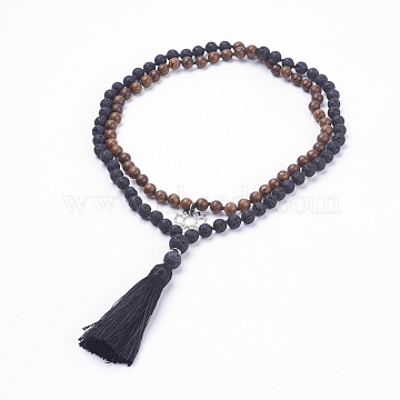 108 Mala Beads, Natural Lava Rock and Wood Beads Two Tiered Necklaces, Layered Necklaces, with Alloy Pendants, Polyester Tassels and Burlap Packing, Lotus, Platinum, 42.5 inches(108cm)(NJEW-JN02002)