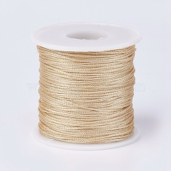 Resin and Polyester Braided Cord Thread, Metallic Cord, Gold, 1mm; about 100m/roll(109.36yards/roll)(OCOR-F008-G07)