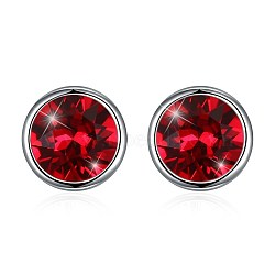 925 Sterling Silver Stud Earrings, with Austrian Crystal, Flat Round, Platinum, 227_Light Siam, 8mm(EJEW-BB30646-5)