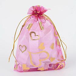 coeur imprimé organza sacs, sacs de faveur de mariage, des sacs-cadeaux, rectangle, orchidée, 9x7 cm(X-OP-R022-7x9-08)