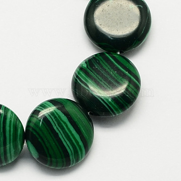 16mm DarkGreen Flat Round Malachite Beads