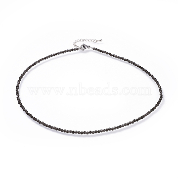 Natural Obsidian Beaded Necklaces, with 304 Stainless Steel Lobster Claw Clasps and Brass Extender Chains, Faceted, 15.8 inches(40.2cm)(NJEW-JN02492-09)