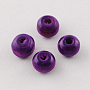Natural Wood Beads, Round, Dyed, Purple, 9x10mm; Hole: 3.5mm