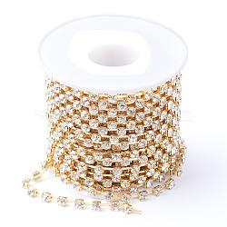 laiton strass chaînes de strass, avec bobine, strass chaînes de tasse, non plaqué, sans nickel, cristal, 2 mm, environ 10 yard / roulette (CHC-T002-SS6-01C)
