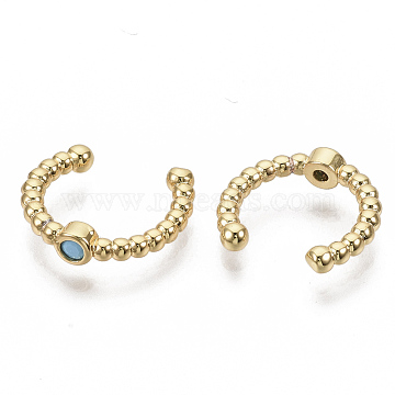 Brass Cuff Earrings, with Synthetic Turquoise, Real 16K Gold Plated, 15.5x3mm, Inner Diameter: 11mm(X-EJEW-S208-001)