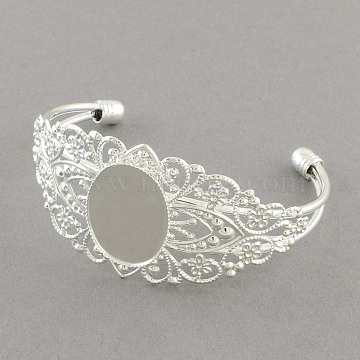 Brass Filigree Bangle Making, Blank Bangle Base, Silver Color Plated, 2-1/2 inches(6.3cm), tray: 25x18mm(X-MAK-S001-SZ003S)