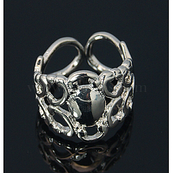 Anneau en filigrane réglable en laiton, des composants d'anneau de garniture, couleur platine, diamètre intérieur: 17 mm, Plateau: 8 mm(X-KK-E053-N)