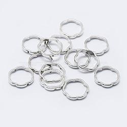 925 Sterling Silver Bead Frames, Flower, Silver, 13.5x2mm; Hole: 0.8mm; Inner Diameter: 11.5mm(STER-F036-14S-13.5mm)