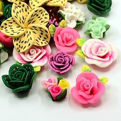 main cabochons d'argile de polymère de fleur, mixedstyle, couleur mélangée, 19~42x11~16 mm(X-CLAY-MSMC003-01)