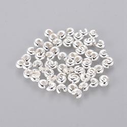 Couvertures de perles à sertir en fer, Sans cadmium & sans nickel & sans plomb, argenterie, 3 mm de diamètre; trou: 1.2~1.5 mm(X-IFIN-H028-NFS-NF)