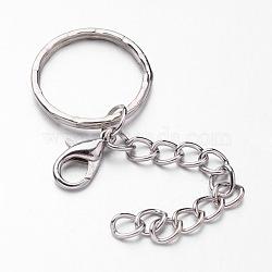 fer divisé porte-clés, avec fermoirs pince de homard en alliage de zinc et chaînes gourmettes, platine, 41 mm(X-KEYC-JKC00090)