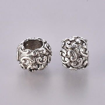 Tibetan Style Alloy European Large Hole Beads, Rondelle, Cadmium Free & Nickel Free & Lead Free, Antique Silver, 7.5x10mm, Hole: 4.5mm(X-TIBEB-7963-AS-NR)